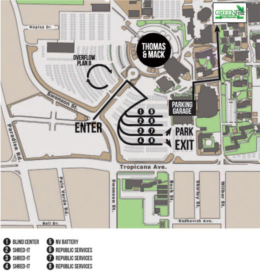 Map of GREENFest Recycling Drop-Off Locations