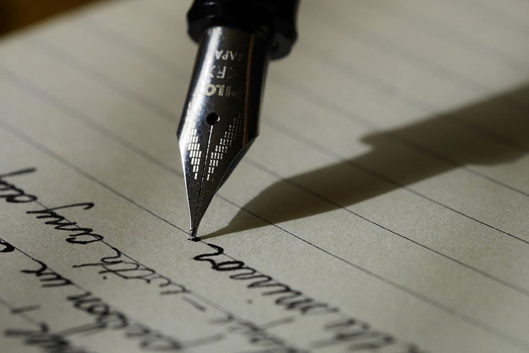 A pen on a paper