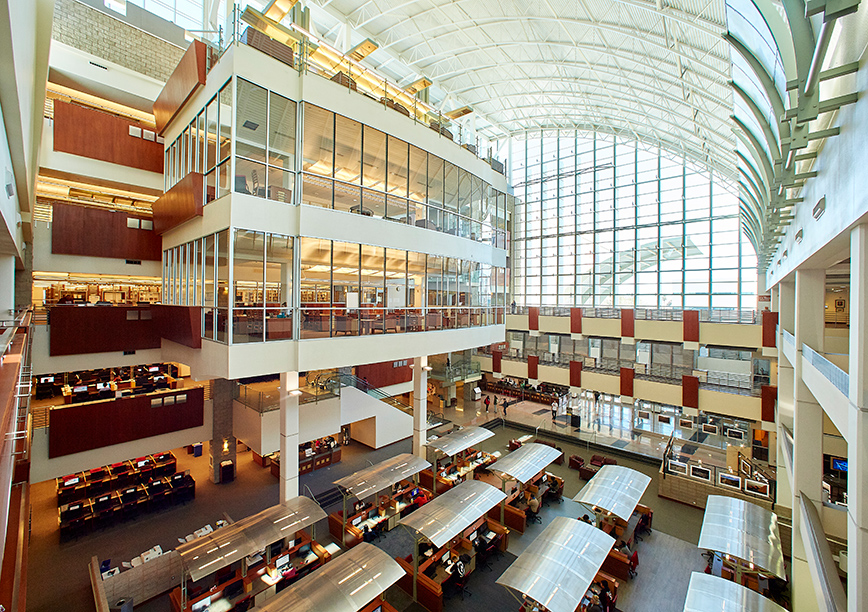 A panoramic photo of Lied Library