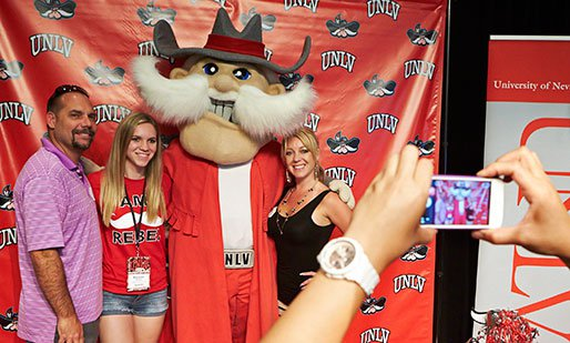 Students pose with Hey Reb!