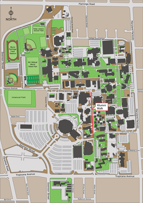 aerial view of campus highlighting the Alumni Walk