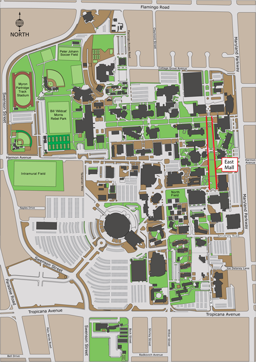 aerial view of campus highlighting the East Mall