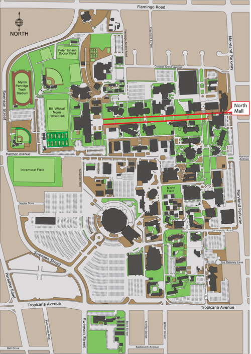 aerial map of campus highlighting the North Mall