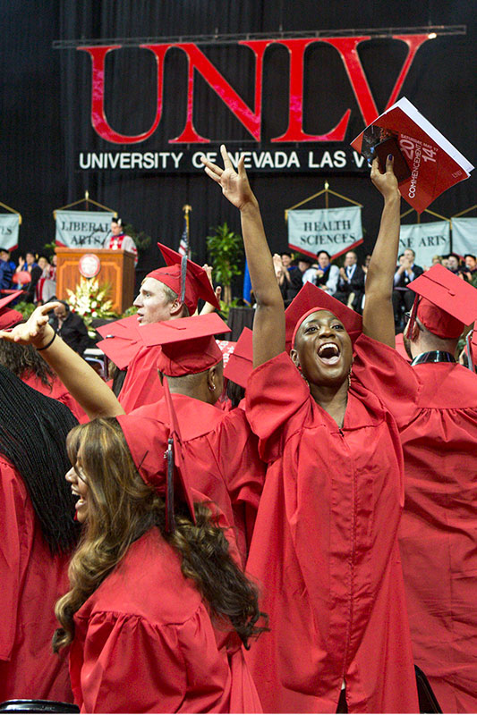 Students celebrate at their Commencement ceremony.