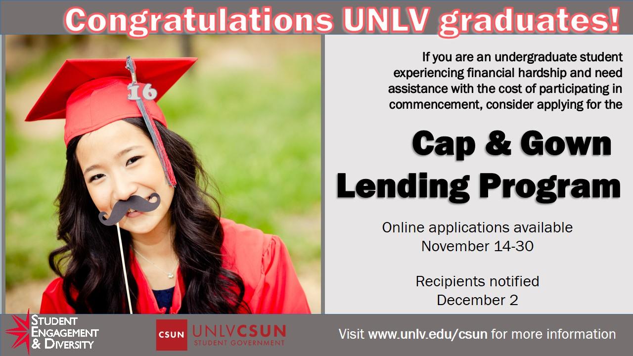 Cap & Gown Lending Program | Calendar | University of Nevada, Las Vegas