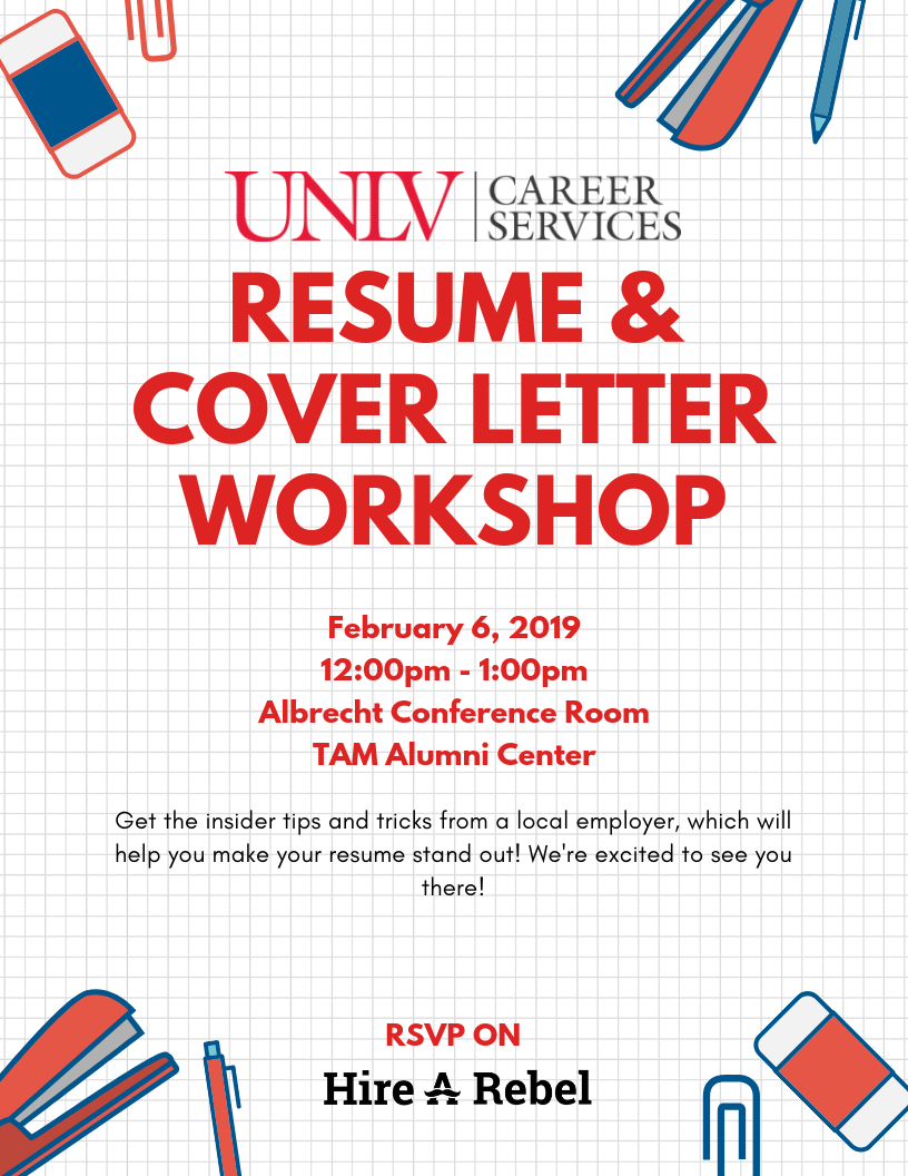Resume Cover Letter Workshop Calendar University Of Nevada