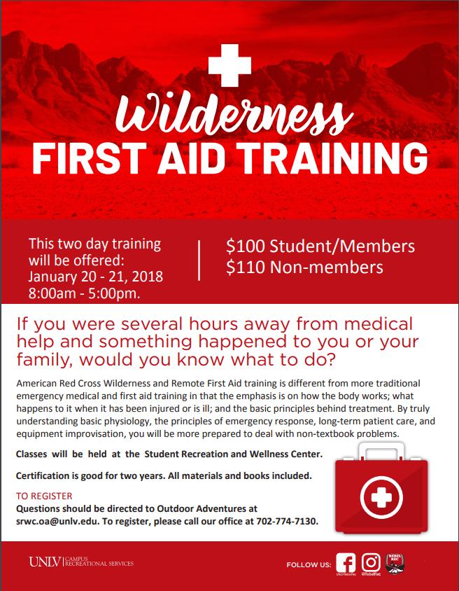 Wilderness First Aid Training   Calendar   University of Nevada, Las ...