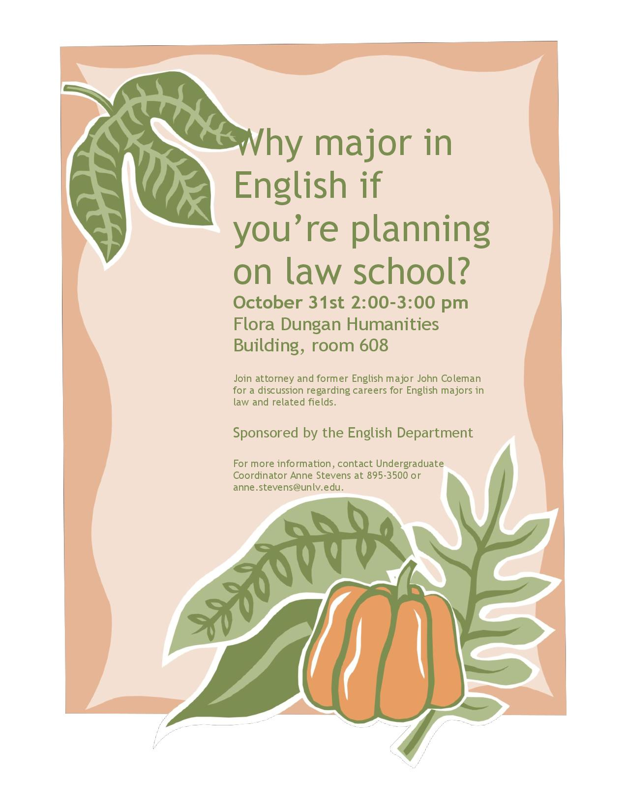 Pre-law event for English majors