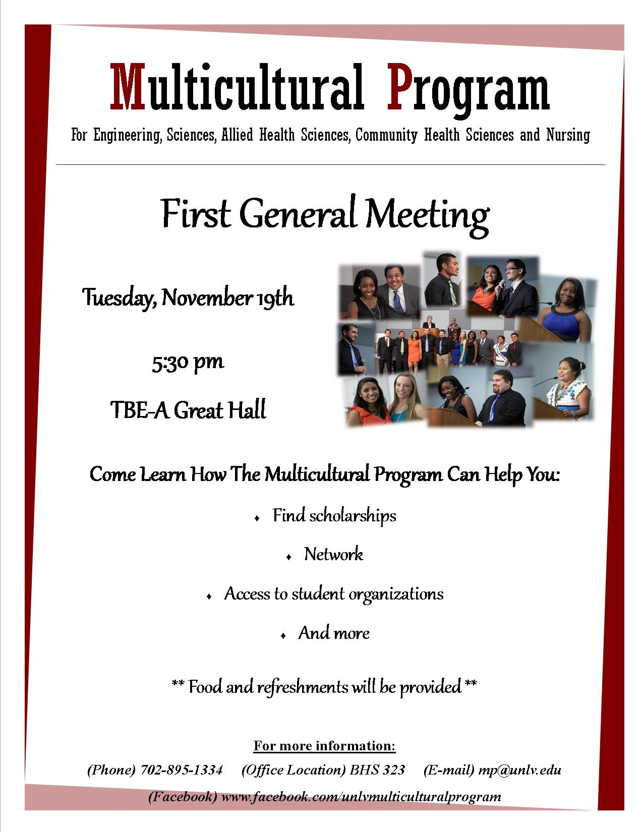 Multicultural Program Fall 2013 General Meeting