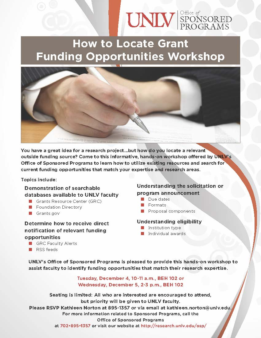 How to Locate Grant Funding Opportunities Workshop