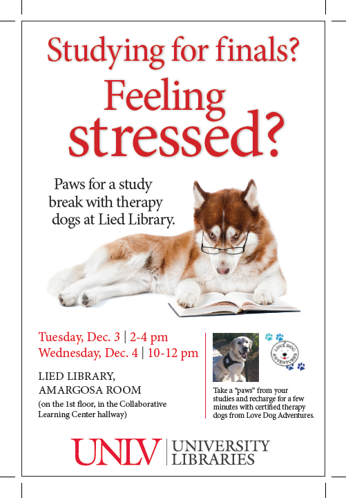Paws for a Study Break at Lied Library