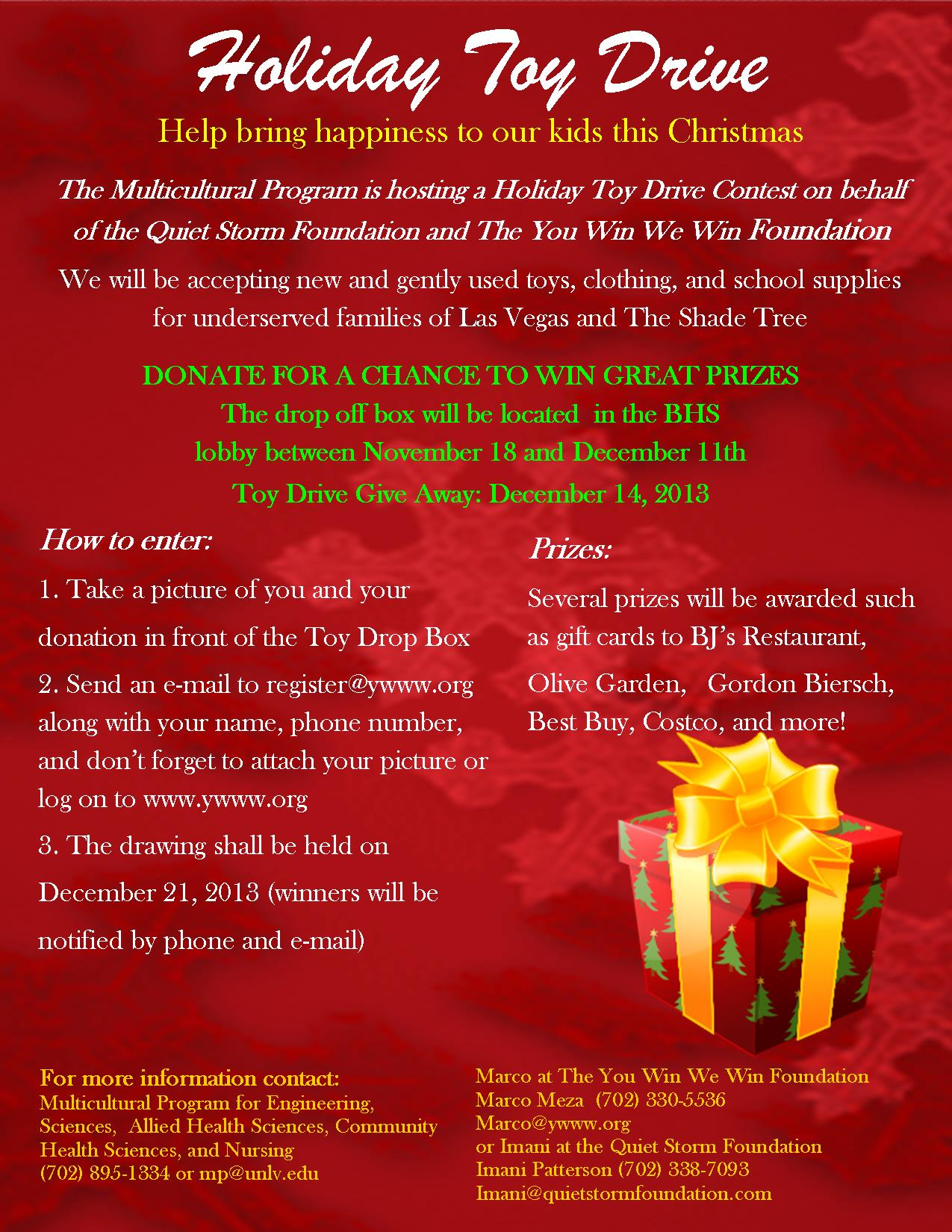 The Multiculural Program Holiday Toy Drive Contest