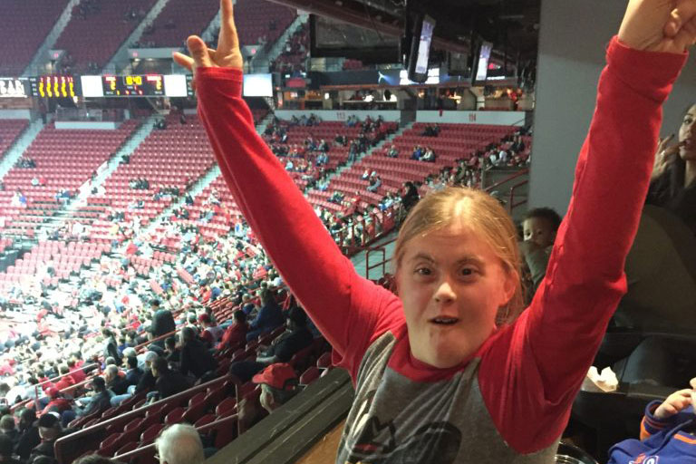 Project FOCUS student celebrating at a basketball game
