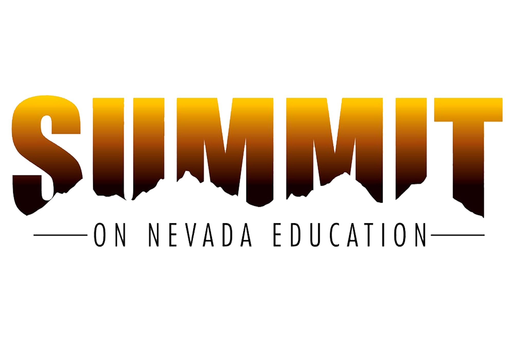 Logo of Summit on Nevada Education written in gradient orange and brown