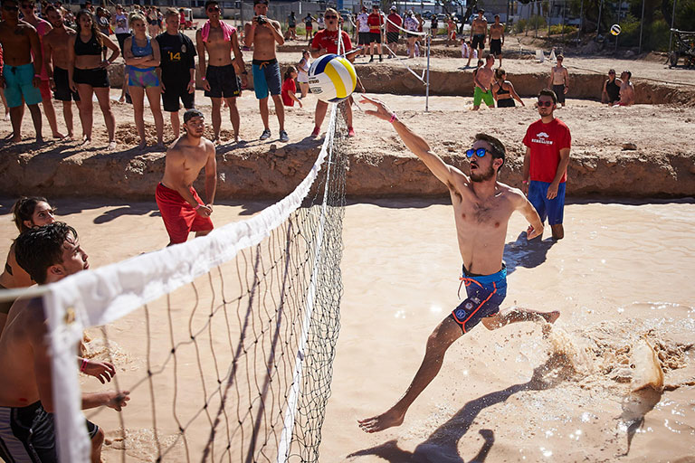Group of people playing oozeball
