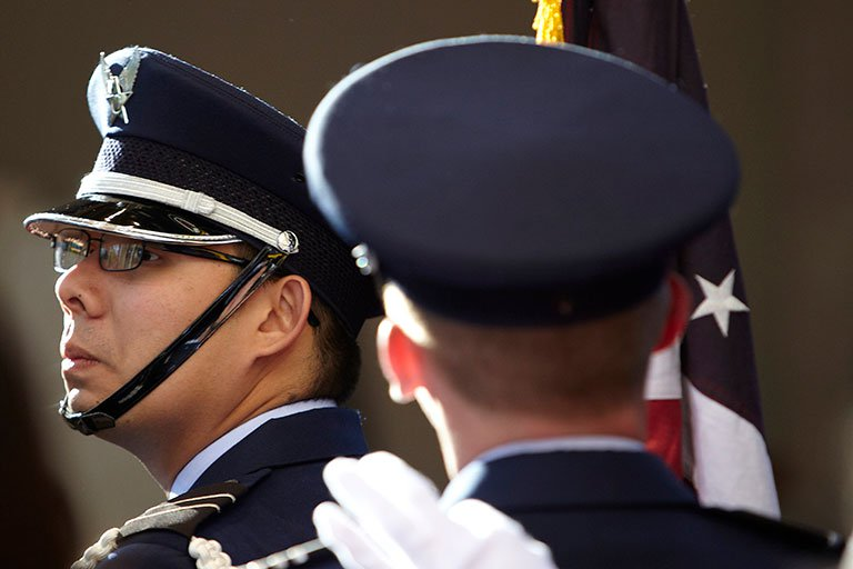 Men in military uniforms.