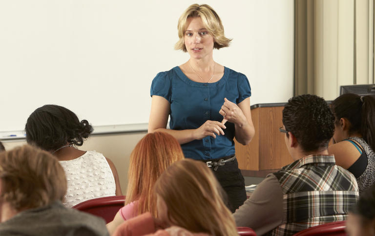 Graduate assistant speaking in a lecture