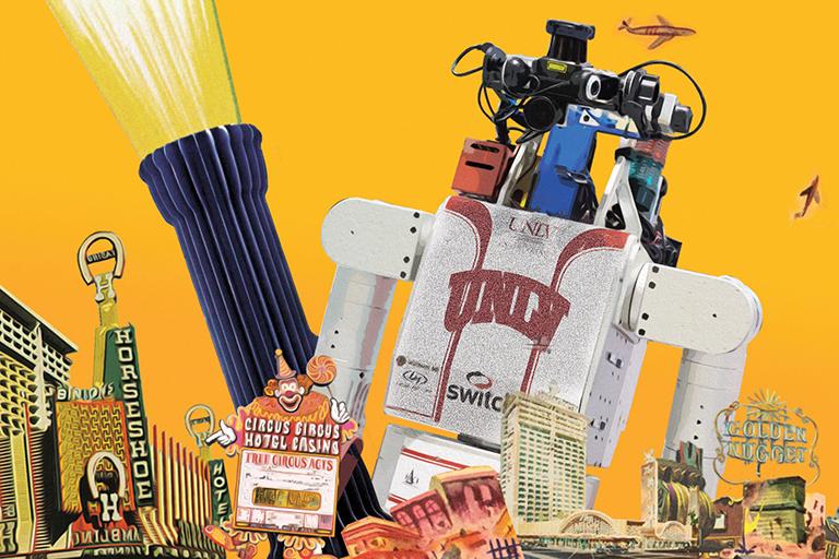 The robot Hubo looms over Las Vegas landmarks