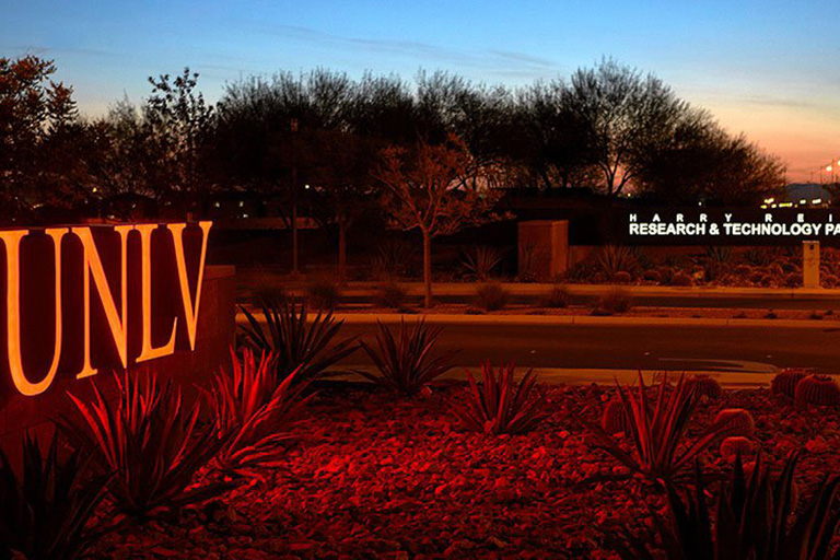 UNLV light sign at entrance of Harry Reid Research and Technology Park