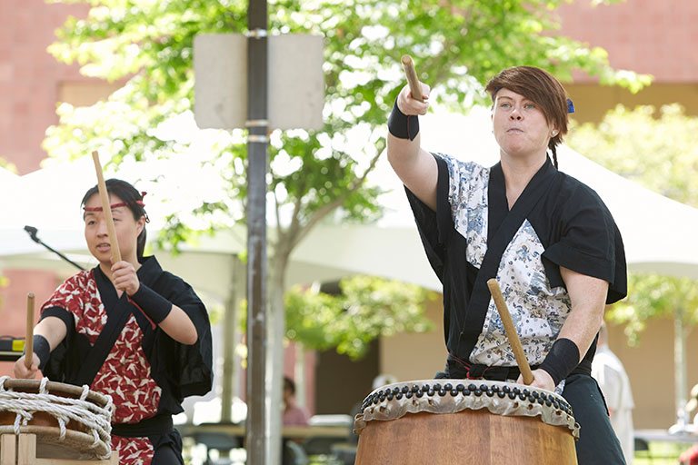 Traditional Japanese drum performers.