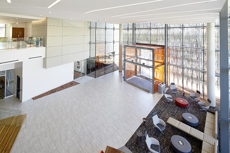 Large, open lobby that lets in a lot of natural light