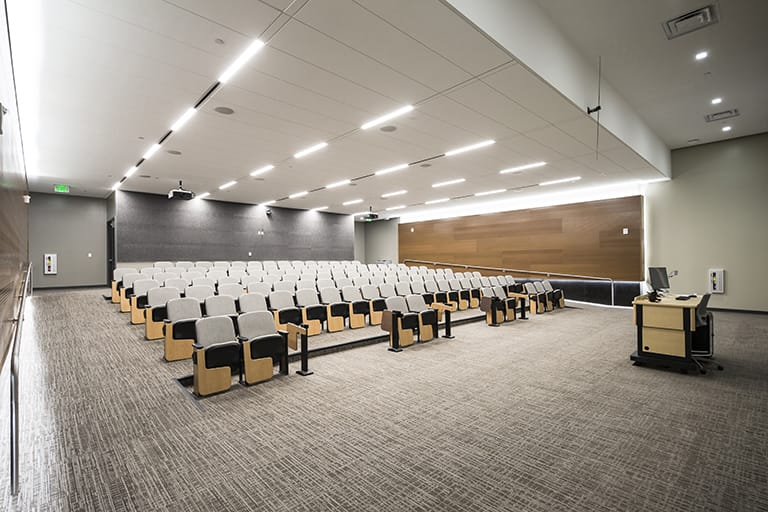Large auditorium that can seat more than 100 people