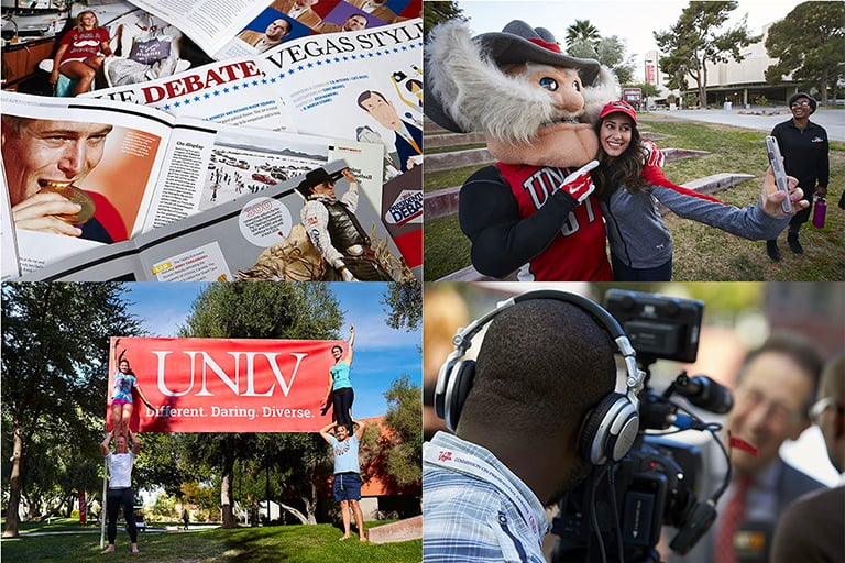 A collection of images from around U-N-L-V campus.