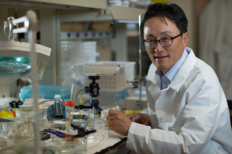 "alt=""Kwang Kim in his lab."""