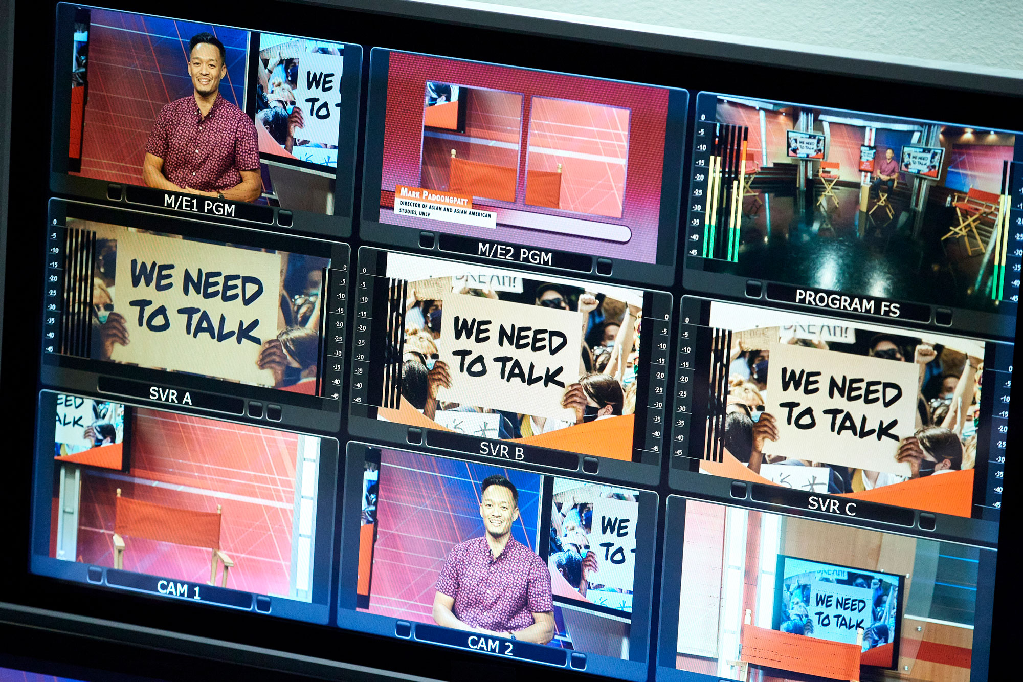 Six video panels with images from a panel discussion