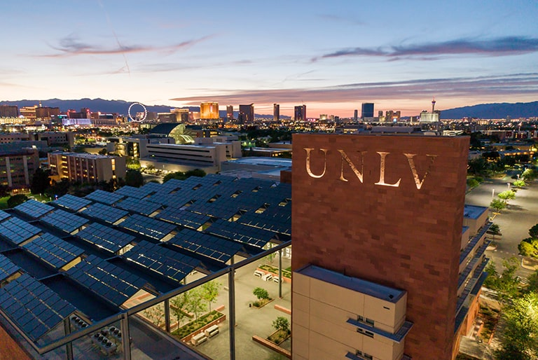 Overview of the UNLV campus at dusk