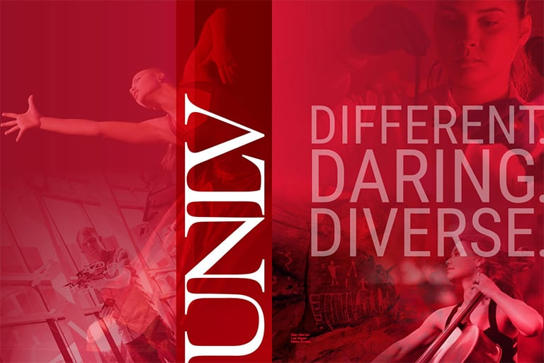 "alt=""The cover of the 2018 UNLV viewbook with the words Different, Daring, Diverse prominently shown in large print."""