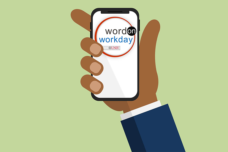 "alt=""Hand holding a phone with the Word on Workday logo displayed."""