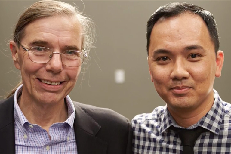 Alumnus Vu Tran & Professor Doug Unger together for a UNLV Stories interview.