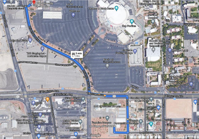 Google map of the location of the UNLV Food Pantry