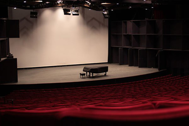 """alt=""""Artemus W. Ham Concert Hall stage"""""""