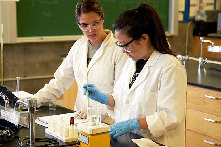 Two students working in a lab