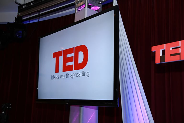 A TED banner at the 2014 TEDxUNLV event.