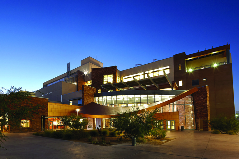 Evening shot of the Science and Engineering Building
