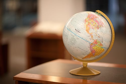 A globe sitting on a table