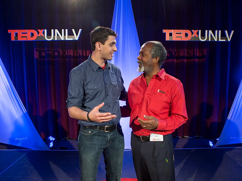 Speakers address crowd at TEDxUNLV event.