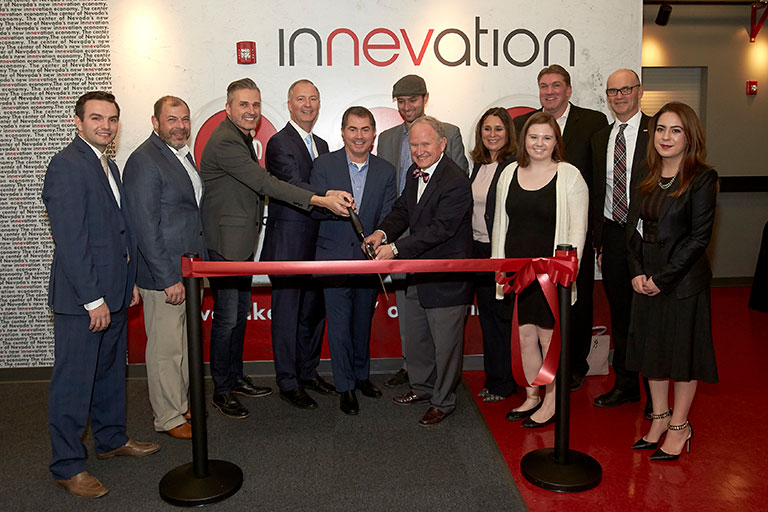 Ribbon cutting ceremony at innevation event.