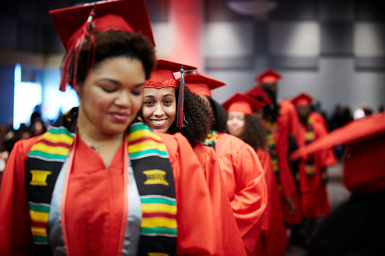 Black students at Commencement ceremony