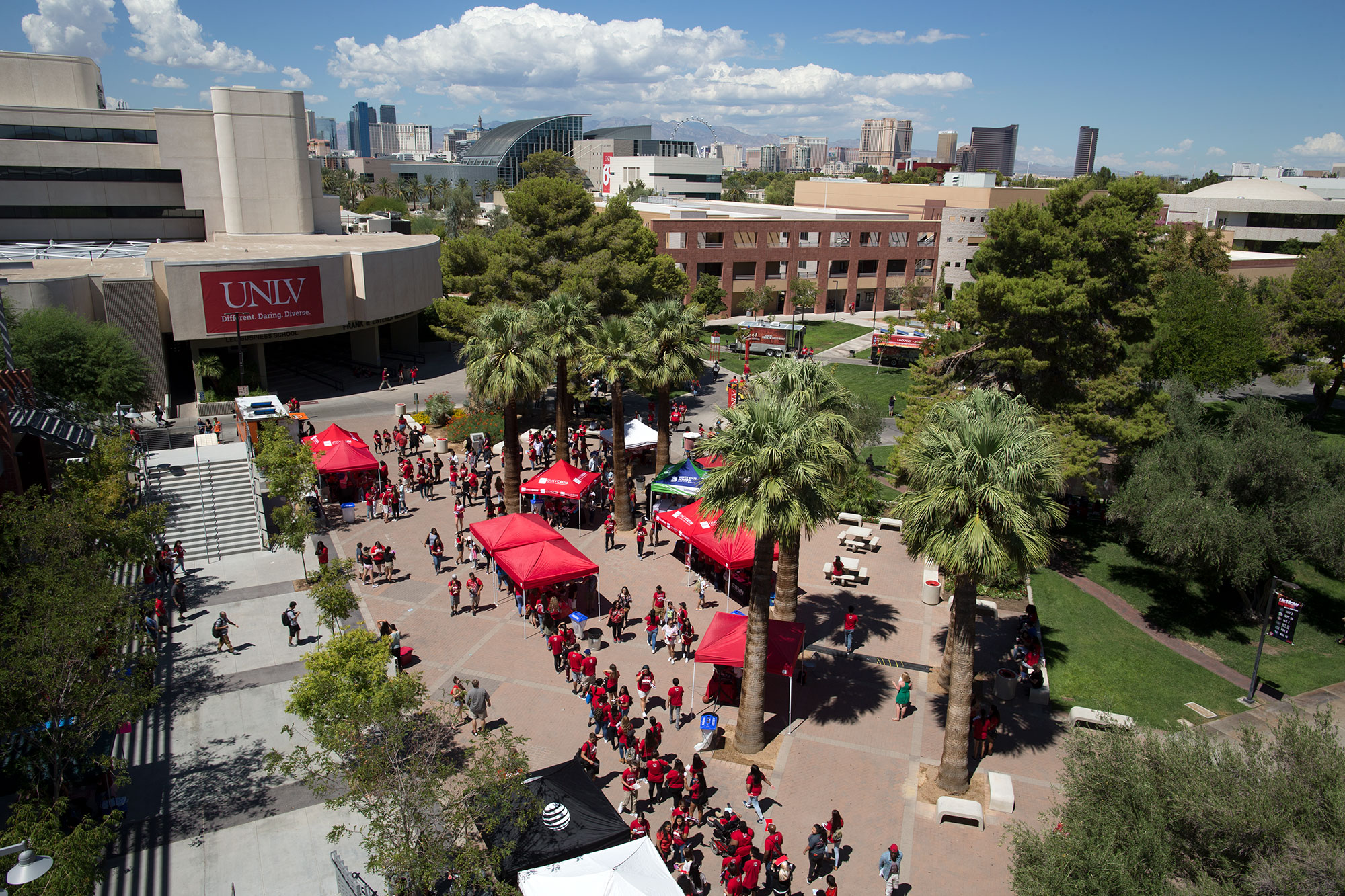 Aerial shot of academic mall with booths set up for an event