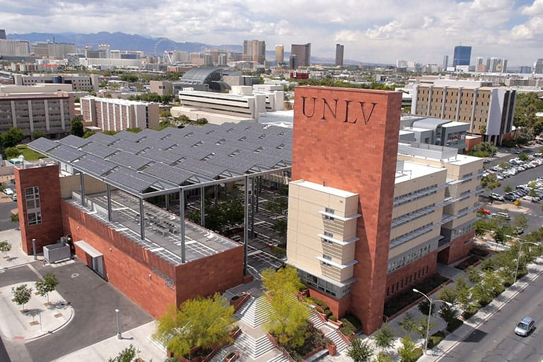 Aerial view of campus with Greenspun Hall in the foreground.