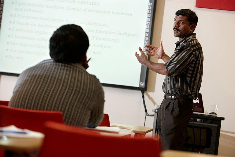 A man teaching a class.