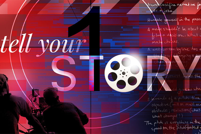 "Text that reads ""Tell your story"" on an abstract background"