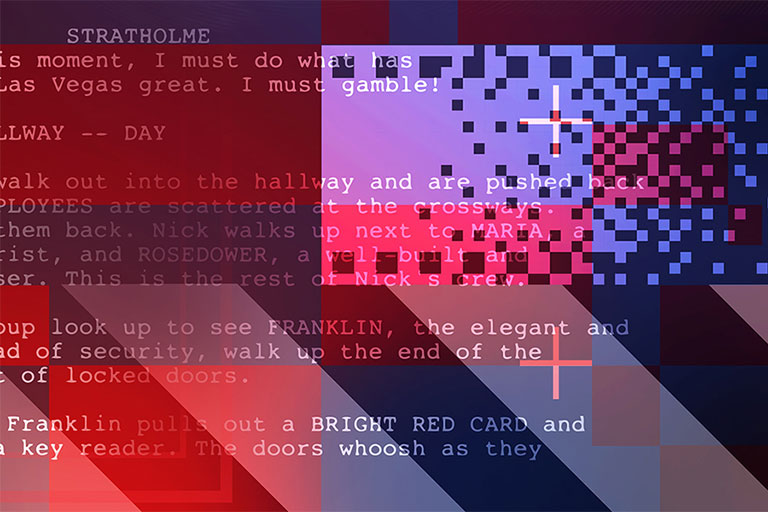 Text on an abstract background