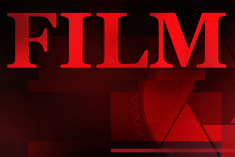 The word Film on a red background