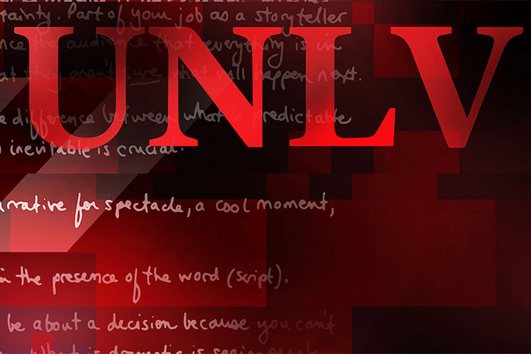 UNLV logo on a red background that has text on it