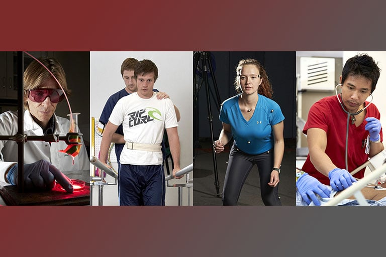 Multiple images of physical therapy activities.